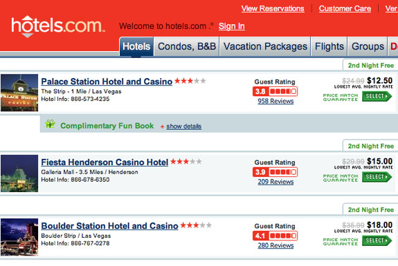 Rock Bottom Cheap Vegas Resorts