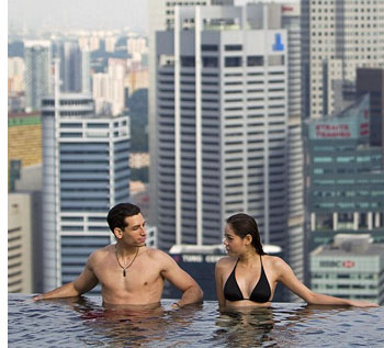 marina bay singapore s Sky High Swimming