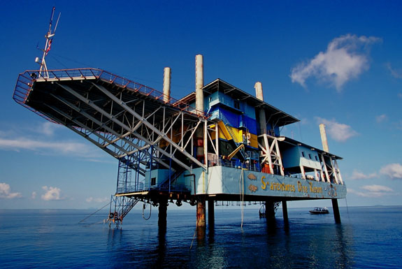 Go Scuba Diving <br>From an Oil Rig Hotel