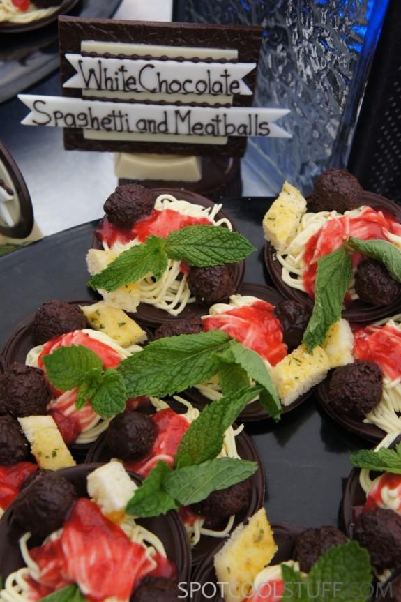 chocolate spaghetti meatballs 2 575x863 At Keystone TBEX 2012, <br>Dessert Looks Like Regular Food