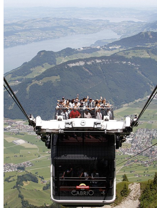 switzerland travel cable car s The Roofless Double Decker Aerial Cable Car