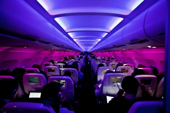 virgin america mood lighting 575x383 The Worlds Coolest Airlines